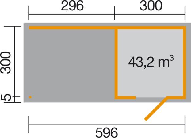 Afbeelding van Blokhut wekaLine 413B Gr.2 met aanbouw 610 x 310cm