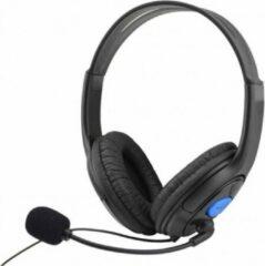 Poqlo Headset voor PS4 - Microfoon - Gamer Headset - Verstelbare Hoofdband - 3.5 mm jack - Zwart met Blauw