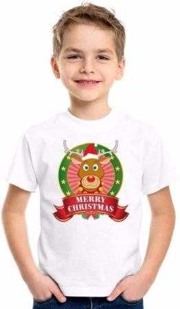 Afbeelding van Shoppartners Kerst t-shirt voor kinderen met rendier print - wit - shirt voor jongens en meisjes M (134-140)