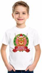Bellatio Decorations Kerst t-shirt voor kinderen met rendier print - wit - shirt voor jongens en meisjes M (134-140)