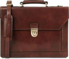 Tuscany Leather Cremona - Leren aktetas met 3 compartimenten - Bruin - TL141732