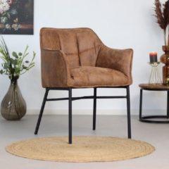 Livin24 Industriële eetkamerstoel Aaron - Cognac - Zeer comfortabel