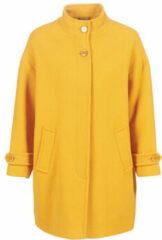 Gele Benetton Oversized mantel in wolblend met klepzakken