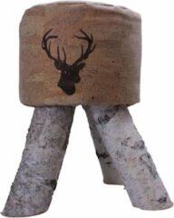 Bruine Artinato Kurk - kruk - duurzaam - origineel - dierenafbeelding - berken poten - houten poten