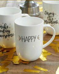 Riviera Maison Riviera - Maison Leonie - 70 Years Of Happiness Happy Mug - Koffietas - Wit