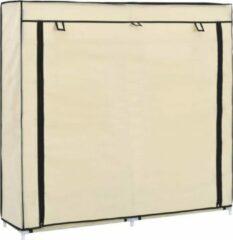 Creme witte VidaXL Schoenenkast met hoes 115x28x110 cm stof créme