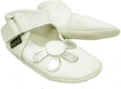 Witte Baby Paws babyslofjes Amanda Wit Zilver maat 1 = ( 10,5 cm)
