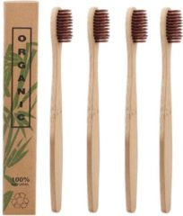 Btp Bamboe Tandenborstels |Set Van 4 Tandenborstels | Medium soft | Biologisch Afbreekbaar | Bruin