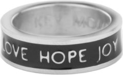 Key Moments Color 8KM R0001 56 Stalen Ring met Tekst Love Hope Joy Ringmaat 56 Zilverkleurig / Zwart
