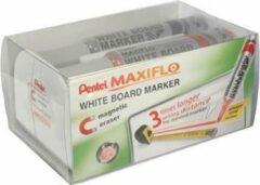 Rode Pentel whiteboardmarker Maxiflo set van 4 stuks: blauw, rood, groen en zwart + magnetische bordwisser
