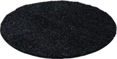 Impression Shaggy Hoogpolig Rond vloerkleed Zwart Effen Tapijt Carpet - 200 x 200 cm