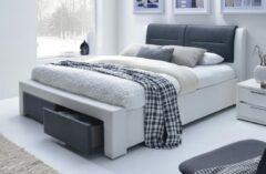 Home Style Tweepersoonsbed Drassa 160x200cm in wit met zwart