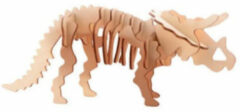 Bruine Merkloos / Sans marque Houten 3D puzzel dinosaurus Triceratops 21 cm - Dino bouwspeelgoed Triceratops