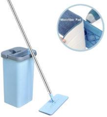 Lichtblauwe Benson Flat Mop - Met Zelfreinigend Mechanisme - Microvezel