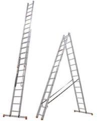 Roestvrijstalen Altrex All Round Reformladder 2delig - 2x14 sporten - Werkhoogte 7m