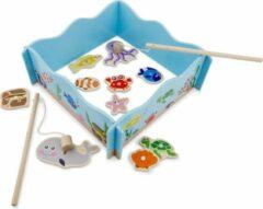 New Classic Toys visspel junior 24 x 24 cm hout blauw 13-delig
