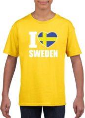 Shoppartners Geel I love Sweden / Zweden supporter shirt kinderen - Zweeds shirt jongens en meisjes XL (158-164)