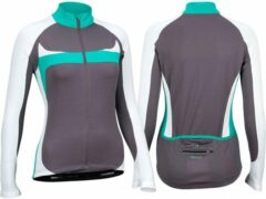 Avento Wielrenshirt Lange Mouw - Dames - Antraciet/Wit/Turquoise - 40