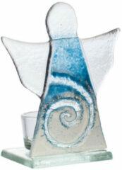 """Theelichthouder """"engel"""" van glas, blauw"""