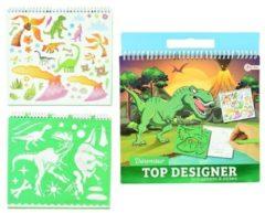 Toi Toys Schetsboek dino met stickers en sjablonen