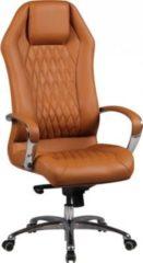 AMSTYLE Bürostuhl MONTEREY Echt-Leder Caramel Schreibtischstuhl 120KG Chefsessel hohe Rückenlehne mit Kopfstütze X-XL