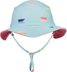 Snapper Rock - Omkeerbare UV Bucket Hoed voor jongens - Maritieme Fliers - Lichtblauw/Koraal - maat M (50CM)