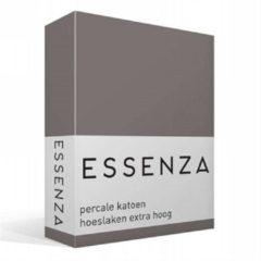 Essenza Premium percale katoen hoeslaken extra hoog - 100% percale katoen - 1-persoons (90x220 cm) - Grijs, Steel grey