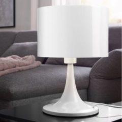 Wohnling Design Tischleuchte TILA Metallschirm-Lampe Nachttischlampe hochglanz Tischlampe weiß Ø 25cm Metalllampe E27 bis 60W Leselampe 1-flammig I