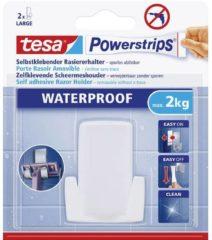Witte Tesa® Tesa Powerstrips® Waterproof Zelfklevende Scheermeshouder Kunststof, draagt tot 2 kg, verwijderbaar