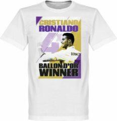 Witte Retake Ronaldo 4 Times Ballon d'Or Winnaar Real Madrid T-Shirt - XXXL