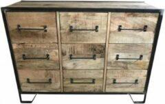 Bruine Vtw Living Industriële kast van Mangohout - Mangohout - Dressoir - Kast - Industrieel - Industrieel Dressoir - Opbergkast - Design - Premium - Luxe Kast - Landelijk - Cabinet - 120 cm breed