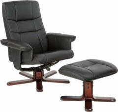 Tectake - TV fauteuil - relaxstoel met kruk - zwart