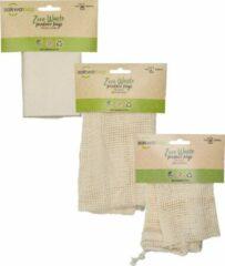 Witte Sakwabag Groente & Fruit zak - Biologisch katoen - Maat M + L + Bulk bag