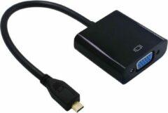 Dolphix Micro HDMI naar VGA + 3,5mm Jack adapter / zwart - 0,15 meter