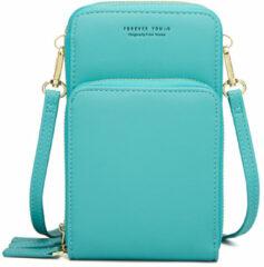 Merkloos / Sans marque Compact Telefoontasje – 3 Compartimenten – Turquoise – Ideaal Voor op Een Feestje