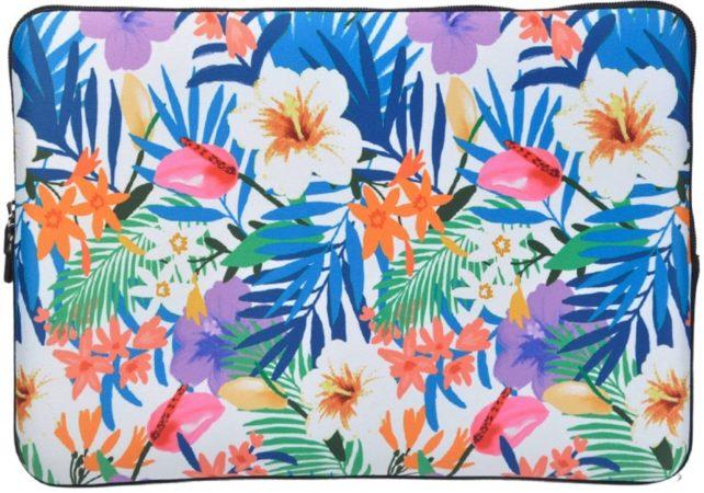 Afbeelding van Misstella Laptop Sleeve met Tropische print tot 15.4 inch – Blauw/Oranje