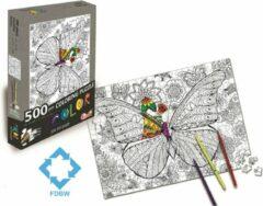 FDBW Puzzel Kleurplaat | Legpuzzel 500 stukjes | Puzzel Kleuren Volwassenen | Puzzel Kleuren | Kleurpuzzels voor Volwassenen - Kinderen | Kinderpuzzel Kleuren | Vicky Vlinder
