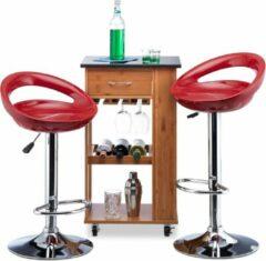 Relaxdays barkruk hoogte verstelbaar - set van 2 stuks - barstoel - tafelkruk draaibaar rood