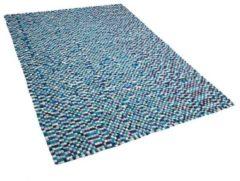 Beliani Vilten bollen tapijt marineblauw/wit 160x230 cm AMDO