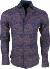 Blauwe New Republic Dinero milano heren overhemd slim fit