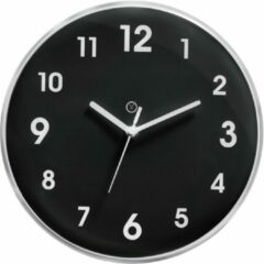 Sompex – 8142 – Wandklok – Kunststof – Ø24,5 cm – Ottawa – Zwart/Zilver