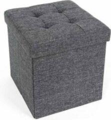 Acaza Opvouwbare Opberg Poef - Voetenbank Met Opbergruimte - Opbergbox Hocker - Zitkist - Donkergrijs - 38 cm Hoog en 38 cm Breed