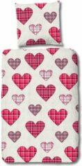 Rode Beddengoed Hoogwaardige Katoen Eenpersoons Dekbedovertrek Hearts | 140x200/220 | Fijn Geweven | Ademend En Zacht