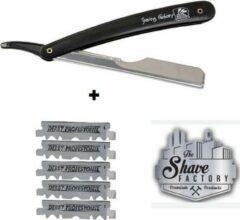 Zwarte The Shave Factory Straight Razor + 5 Free Derby Blades   Scheermes, Kappersmes, Shaving Razor, Shavette, Barbiersmes, kappersmes, klassiek open scheermes,