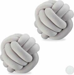 Relaxdays 2 x knot kussen grijs - sierkussen knopen - knoopkussen - Scandinavisch - 25 cm