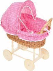Roze Angel Toys Rieten Poppenwagen - houten wielen - Stoffen Kap - Fuchsia bekleding met kleine stipjes