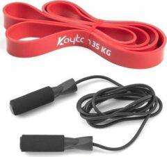 Rode Kaytan Fitness elastiek 35 kg - Resistance band - Elastische weerstandsband - Touwtje springen volwassen - Springtouw kinderen - Jump rope - Fitness - Sport artikelen