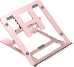 Roze Case2go Opvouwbare laptop / macbook standaard - 11.6 tot 17.3 inch - Verstelbare hoogte - Aluminium - Rosé-Goud