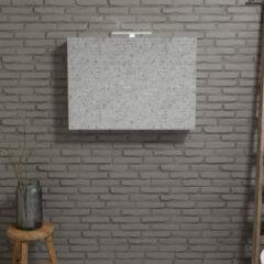 Zaro Beam Spiegelkast 100x70x16cm wit marmer 2 deuren