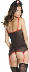 Rode Coquette (All) Nurse Top With G-String - Black/Red - O/S - Lingerie For Her - 2 Pcs Set - Costumes for Her